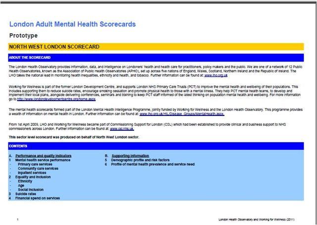 1st London mental health scorecards