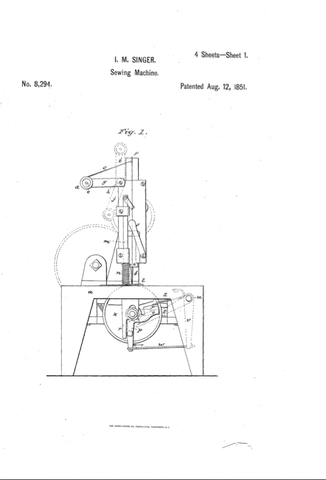 Singer receives a patent for his improved sewing machine.
