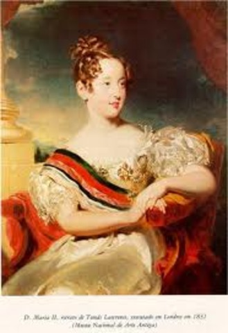 D. Pedro IV abdica a favor da filha Maria.