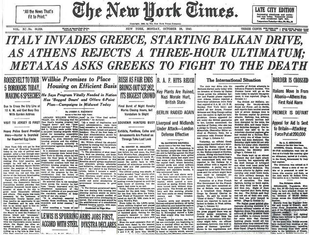 Italien angriber Grækenland, men slås tilbage