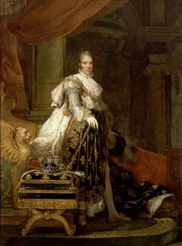 Retrato de carlos X de frnacia en traje de coronacion.