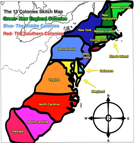 13 Colonies established