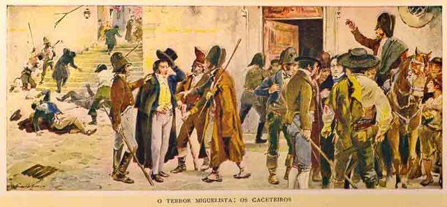 Os miguelistas retiram da margem sul do Douro e avançam de Coimbra sobre Lisboa.