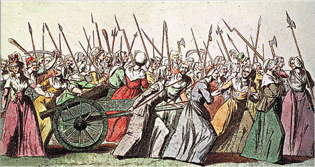 A mob of Parisians consists of mainly women, marched on Versailles and forced the royal family to move back to Paris.