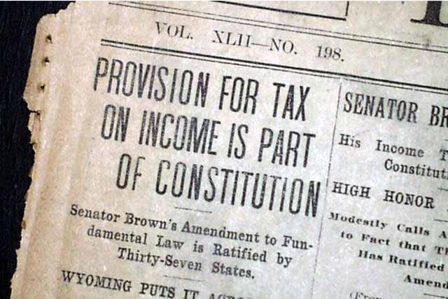 Adoption of the federal income tax