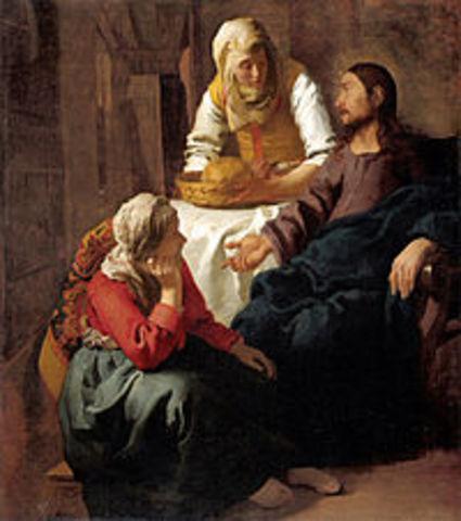 """Veermer pinta """"Cristo en la casa de Marta y María"""""""