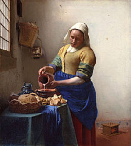 "Vermeer pinta termina ""La lechera"""