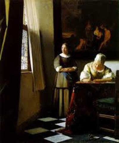 """Vermeer termina """"Una dama escribe una carta con su sirvienta"""""""