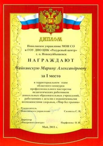 Педагогическое достижение Чайкивской М.А.