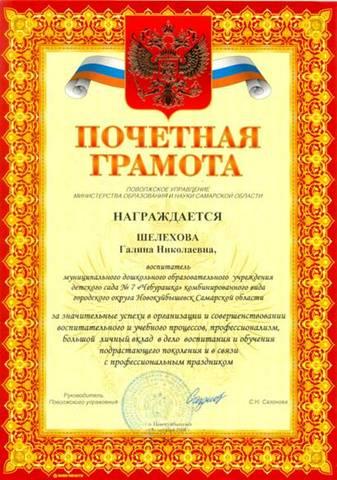Педагогическое достижение Шелеховой Г.Н.