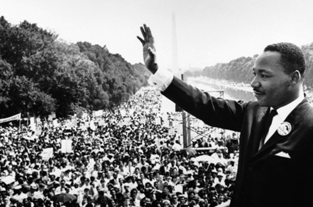 "Martin Luther King, Jr. delivers his ""I have a dream"" speech."