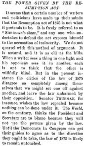 Resumption Act- Panic of 1873