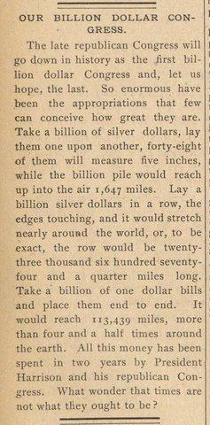The Billion Dollar Congress
