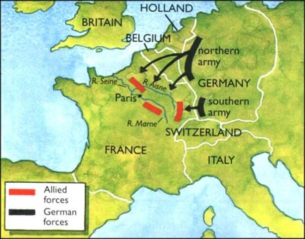 Germany declares war on France and invades Belgium