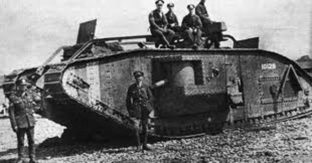 Tanks first used en masse at the Somme