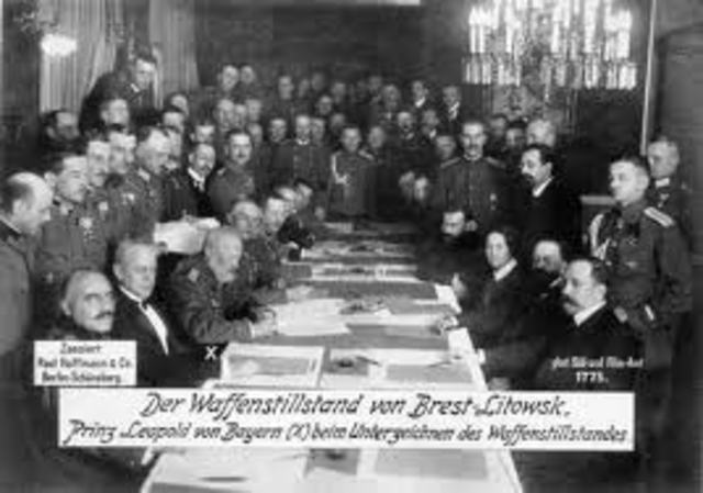 Treaty of Brest-Litovsk signed between Russia and Germany