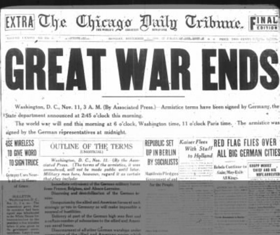 Armistice signed - end of WW1