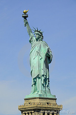 Statue of Liberty erected in New York harbor