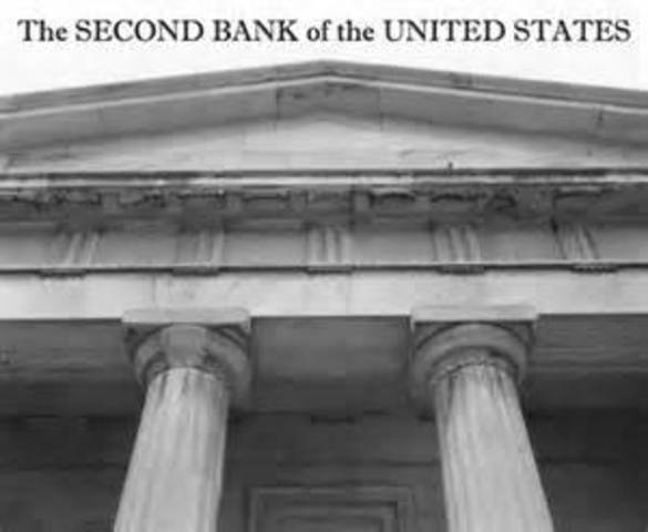 Congress charters the Second Bank of the United States