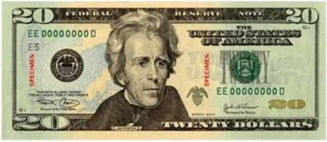The current series of 20 dollar bills is released