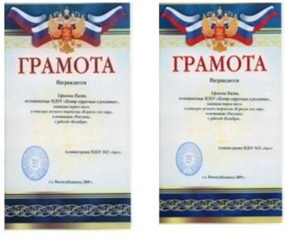 Достижения воспитанников за 2009 год