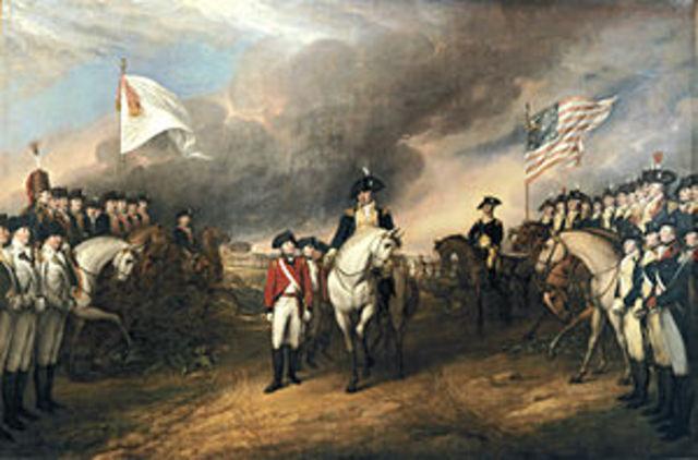 Lord Cornwallis surrenders at Yorktown