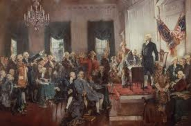 Delegates at the Constitutional Convention sign the Constitution