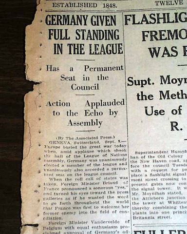 Germans admitted to the League of Nations
