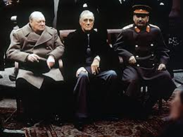 In discussing the reorganization of Post-War Europe, Churchill, Roosevelt, and Stalin meet in the Yalta Conference.