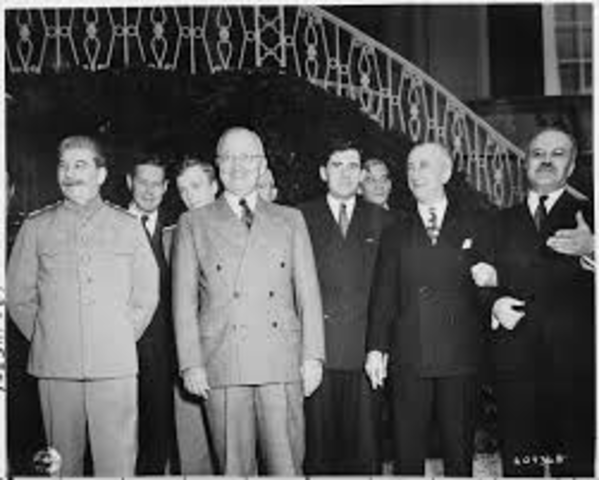 Harry Truman takes over as president and establishes his position to Soviet Foreign Minister Vyacheslav Molotov.