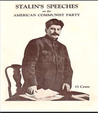 Stalin gives a speech saying that communism and capitalism cannot co-exist.