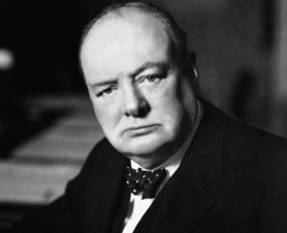 """Winston Churchill, in a response to Stalin gives his """"Sinews of Peace"""" speech wherein he refers to the Iron Curtain descending upon Europe."""