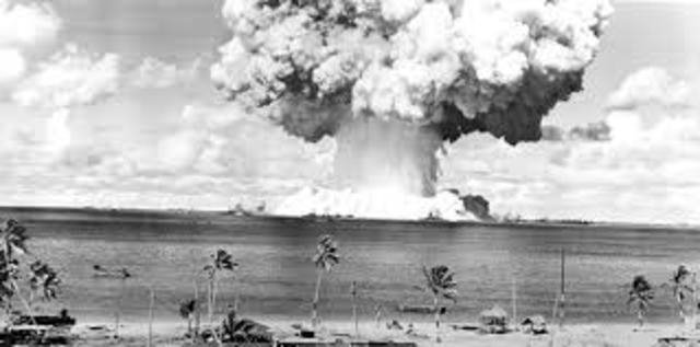 A series of nuclear tests by the USA are conducted at the Bikini Atoll, the activity is known as Operation Crossroads.
