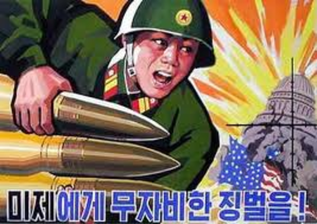 The Korean War begins with Stalin equipping North Korea with Soviet weapons in the invasion against South Korea.