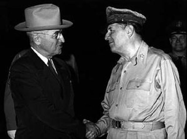 General Douglas MacArthur is relieved from service by President Truman.