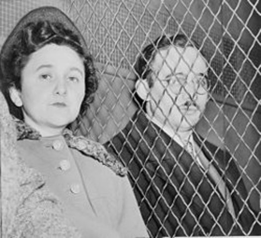 Julius and Ethel Rosenberg are executed for their involvement as communist spies.