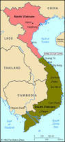 Vietnam is divided to north and south at the 17th parallel.