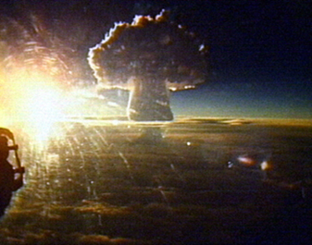 Tsar Bomba, the most powerful thermonuclear weapon ever tested is detonated by the Soviet Union.
