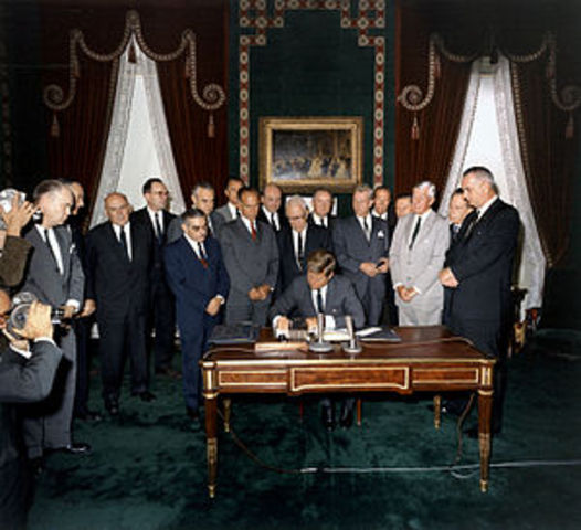 The UK, US, and USSR sign the Partial Test Ban Treaty, limiting the testing of nuclear weapons to nearly any place except underground.