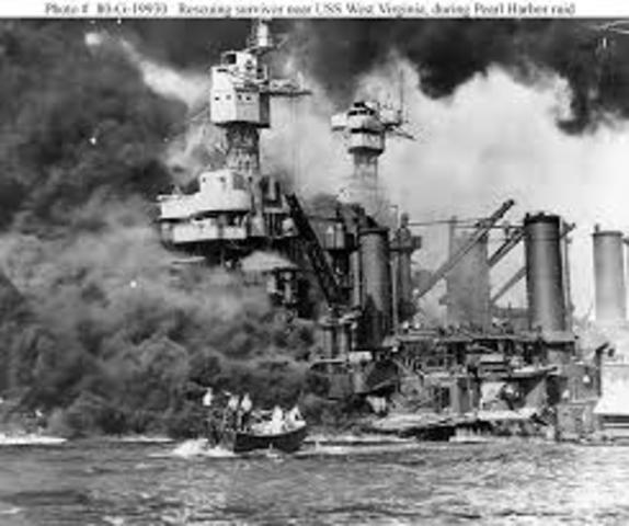 Pearl Harbor in Hawaii attacked by Japanese Naval and Air forces