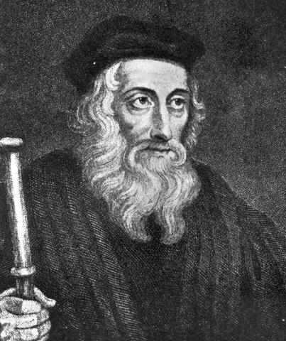 John Wycliffe  (1325-1384) challenges the teachings of the Roman Catholic Church.