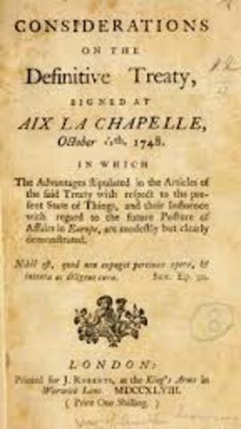 Treaty of Aix-La-Chapelle is made.