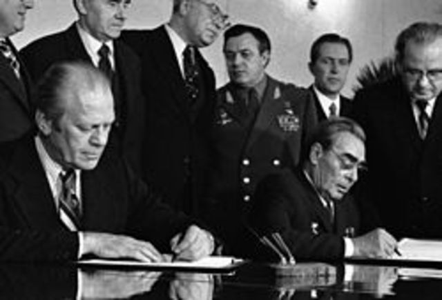The beginning of Detente between the US and USSR results in the signing of the Strategic Arms Limitation Talks (SALT I).