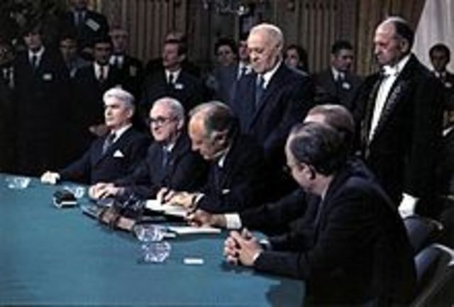 America's involvement in the Vietnam War ends by the signing of the Paris Peace Accords.