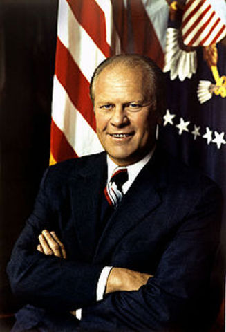 Richard Nixon resigns and is replaced by Gerald Ford as President of the U.S.