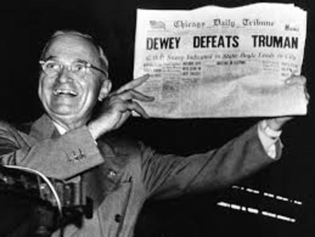 Election: Truman (D) v Dewey (R)