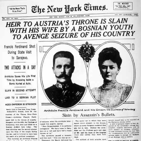 The assassination of Archduke Franz Ferdinand of Austria and his pregnant wife Sophie.