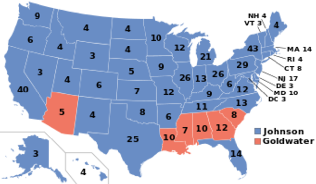 Election of 1964: LBJ (D) V. Barry Goldwater (R)