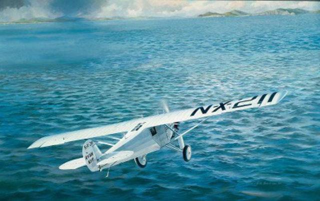 First nonstop solo flight across the Atlantic