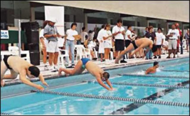 Mi primera competencia de natacion.
